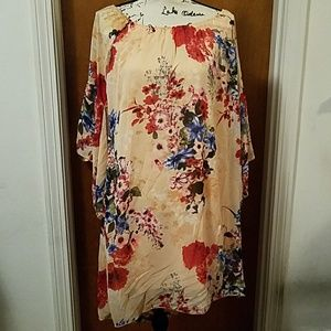 NWOT peach floral print sheath dress